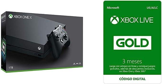 Microsoft Xbox One X Naked Refurbished y Suscripción Xbox Live Gold - 3 Meses | Xbox Live - Código de descarga: Amazon.es: Videojuegos