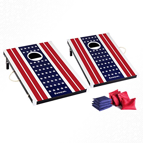 Harvil Cornhole Game Set - US Flag. Includes 8 Double-Lined Bean Bags by Harvil