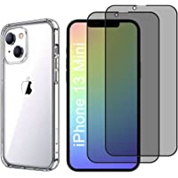 Screen Protector Compatible with iPhone 13 Mini [5.4 inch] with 2 Packs Privacy Glass Screen Protector and 1 Pack Phone…