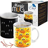 Magic Coffee Heat Sensitive Mug, Color Changing Smiley Faces Design Cup, 12 oz, By Chuzy Chef ()