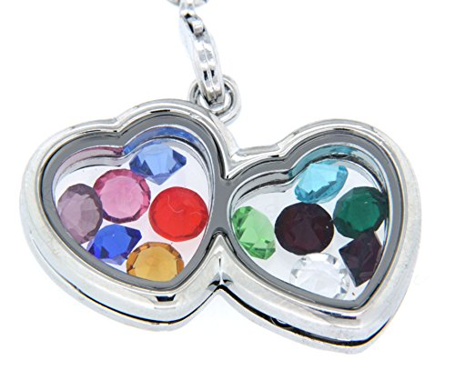 Double Mini Heart Floating Charm Locket Necklace with 12 Birth Month Crystals ()