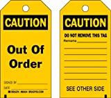 Brady 86424 5 3/4'' Height x 3'' Width, Heavy Duty Polyester (B-837), Black on Yellow Accident Prevention Tags (10 Tags)