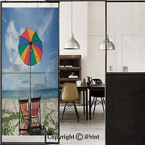 Seaside 3D Decorative Film Privacy Window Film No Glue,Frosted Film Decorative,Pair of Chairs and Colorful Umbrella on The Beach Seaside Holiday Travel Image,for Home&Office,23.6x70.8Inch Multicolor