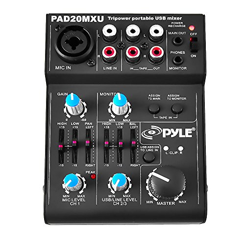 Pyle 5 Channel Audio Mixer - DJ Sound Controller Interface with USB Soundcard for PC Recording, XLR and 3.5mm Microphone Jack, 18V Power, RCA Input and Output for Professional and Beginners - PAD20MXU