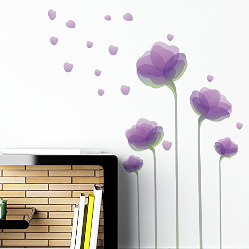 Flower Wall Stickers - Purple Flower Wall Decals - Flower Vinyl Wall Décor, Peel and Stick by Dooboe