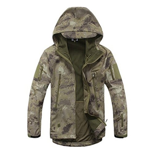 Men's Camouflage Hunting Jacket Soft Shell Hooded Coat For Outdoor Sport (Ruins, XXL)