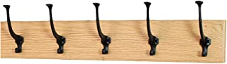 product image for PegandRail Solid Oak Wall Mounted Coat Rack - Large Black Mission Hooks - Made in The USA (Natural, 25.5 x 4.5 X-Wide - 5 Hooks)