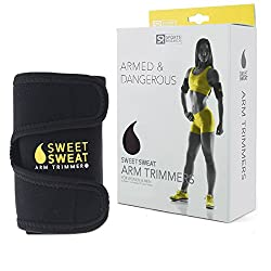 Sports Research Sweet Sweat Premium Arm Trimmers For Men & Women | Helps Improve Circulation & Sweating | Includes Free Breathable Mesh Carrying Case (Yellow, Large)