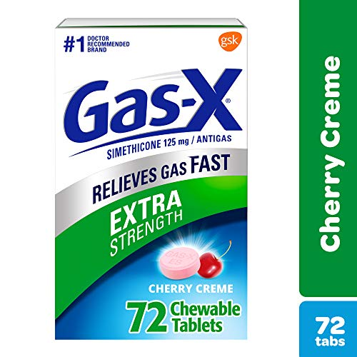Gas X Chewable Extra Strength Tablets for Fast Gas and Bloating Relief, Cherry Flavor, 72 Count