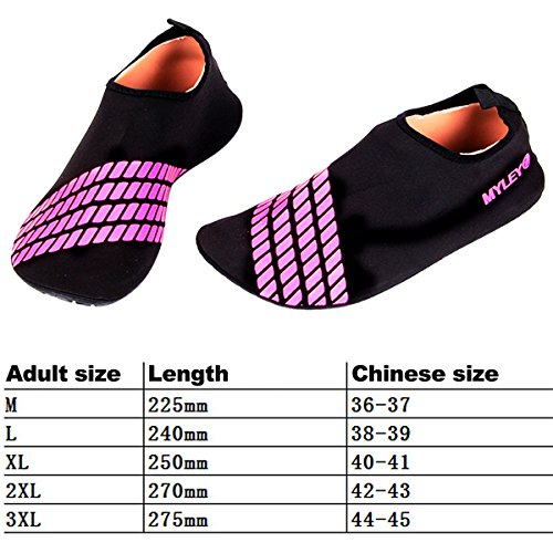 Non Wading Skin Aqua Socks slip Running Water Beach Sock Red for Barefoot Unisex Water Shoes Swim Outdoor Fitness Shoes Women Summer Rose Pool Sports Surfing Stripe Sasairy OxqvE6Ywv