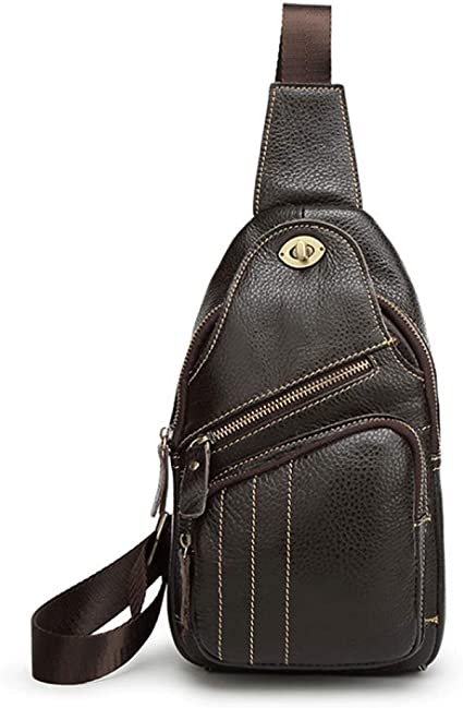 RXF Leather Mens Messenger Bag Ladies Pockets Casual Business Color : Black, Size : S