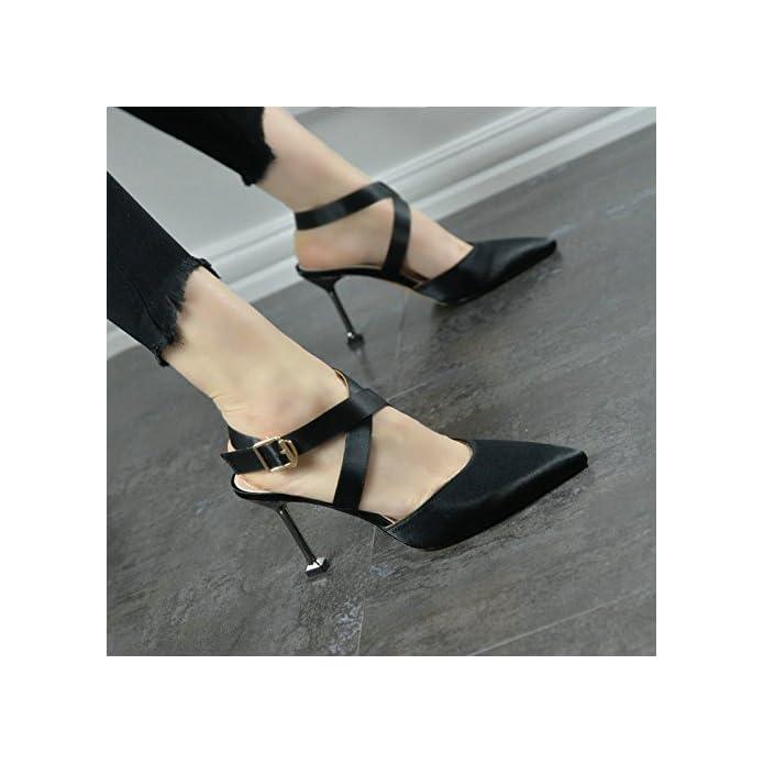 Ajunr Sandali Da Donna Alla Moda Sexy Seta Satin Attraversare Le Cinghie Con Belle Scarpe Pantofole Un Nuovo Gatto 5-8cm