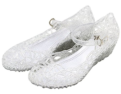 Vokamara Cinderella Girls Soft Crystal Plastic Shoes Hollow Out Wedge Sandal White 34]()