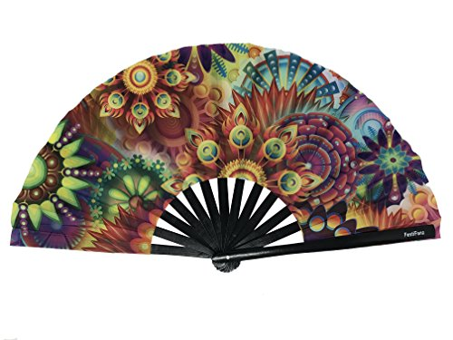 FestiFanz Large Lucy's Dream Folding Hand Rave Fan Festival Fan by FestiFanz