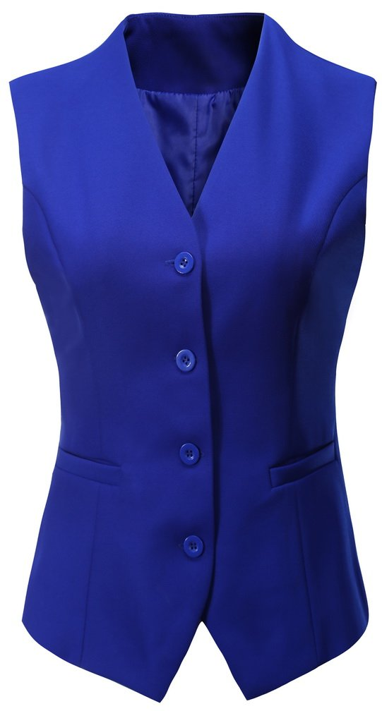 Foucome Women's Formal Regular Fitted Business Dress Suits Button Down Vest Waistcoat Light Blue US L - Tag 4XL