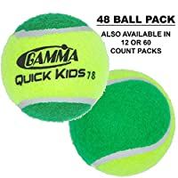 Gamma Beginner Child or Adult Training (Transition) Practice Tennis Balls: Orange or Green Dot, Quick Kids 36, 60, or 78 (25%-50% Slower Ball Speed) - 12, 36, 48, 60 Pack Sizes