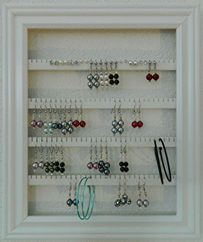 Earring Holder – Holds 75 pair – Made with an 8 x 10 Picture Frame – Lucky Day Designs – Available in 7 Colors – White