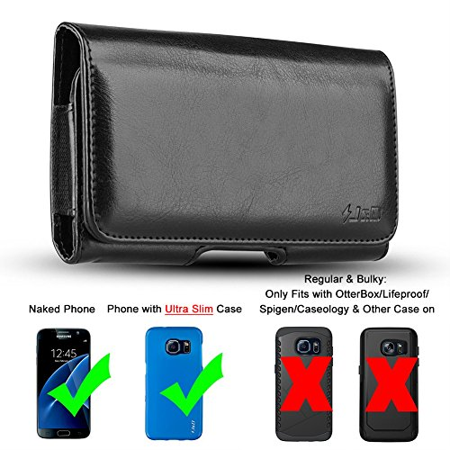 J&D Holster Compatible for Galaxy S7 Edge Holster/iPhone 8 Plus Holster/7 Plus/6 Plus Holster with Belt Clip, PU Leather Holster Pouch and ID Wallet Case (Only Fits with Naked Phone/Slim Case On)