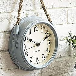 Hxmgzi Wall Clocks Nordic Modern Minimalist Clocks Wall Clock Living Room Wrought Iron Metal Clocks Creative Quartz Clock Personality,White,8 inch (Color : 8in, Size : Blue)