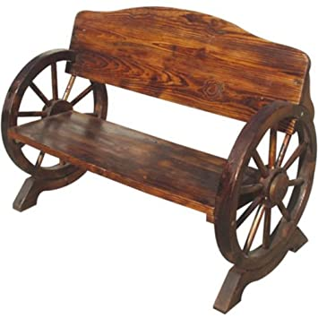Amazing Beautifully Crafted Burnt Wood Garden Wooden Bench 2 3 Seater Outdoor Park Patio Conservatory Cart Wagon Wheel Cartwheel Style New Uwap Interior Chair Design Uwaporg