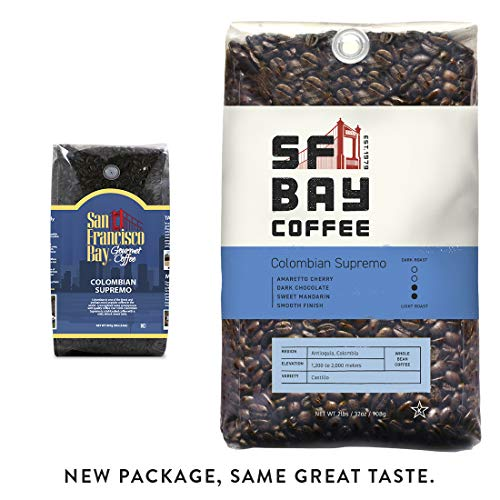 SF Bay Coffee Colombian Supremo Whole Bean 2LB (32 Ounce) Medium Roast (Packaging May Vary)