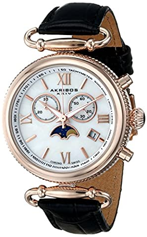 Akribos XXIV Women's AK754BKR Swiss Chronograph Quartz Movement Watch with White/White Mother of Pearl Dial and Black Leather Calfskin - Chronograph White Dial