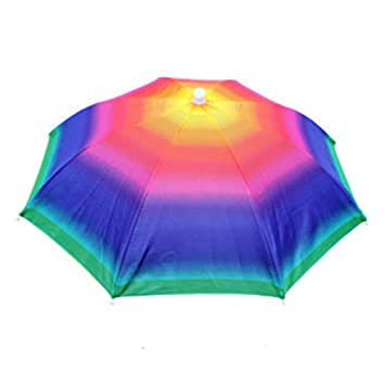 cf23f1d36a2 LanLan Umbrella Hat Headwear Cap Sun Rain Umbrellas Foldable Sunscreen for Camping  Fishing Hiking 55cm