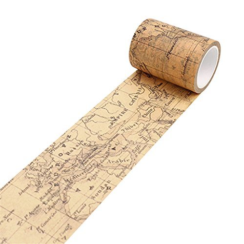 Colorido Vintage Washi Paper Decorative Masking Tape DIY Adhesive Scrapbook Sticker size Medium (World Map) (World Map Sticky Notes)