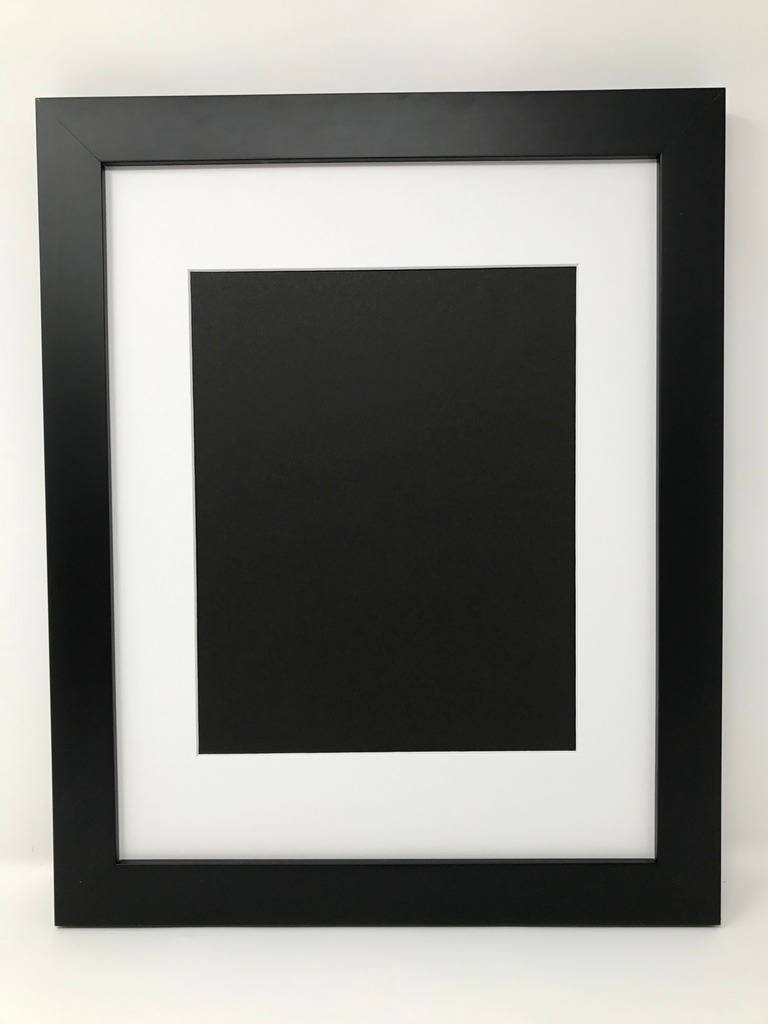Woodburn's Stencil Shop 22x28 1.25'' Solid Wood Black Picture Frame with White Mat Cut for 18x24 Picture