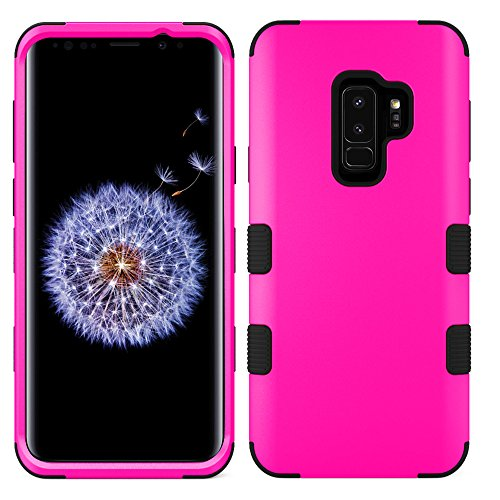 MyBat Cell Phone Case for Samsung Galaxy S9 Plus - Titanium Solid Hot Pink/Black Solid