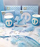 20 People Decoration Kit Set Pack Baby Boy Blue Shower Christening Baptism Candle Napkins Confetti Favor Table Runner Party