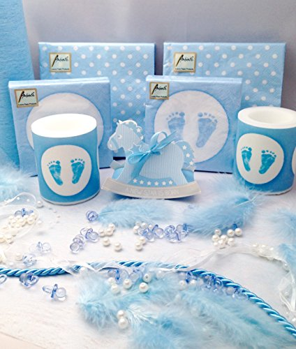 20 People Decoration Kit Set Pack Baby Boy Blue Shower Christening Baptism Candle Napkins Confetti Favor Table Runner Party by Treasured Memory