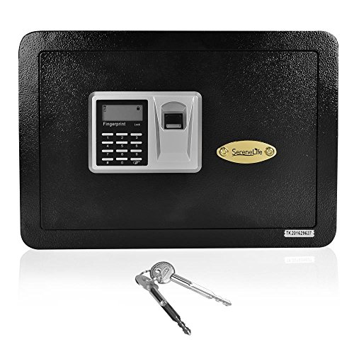 SereneLife Security Electronic Fingerprint Safe Box with Mechanical Override, Includes Keys, 13.8 x 9