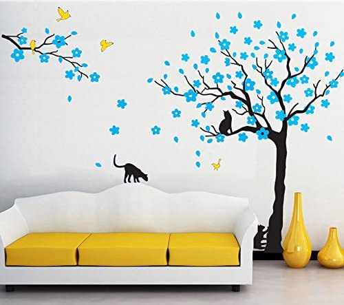 Negro árbol de pájaros y gatos pared adhesivos extraíble árbol ...