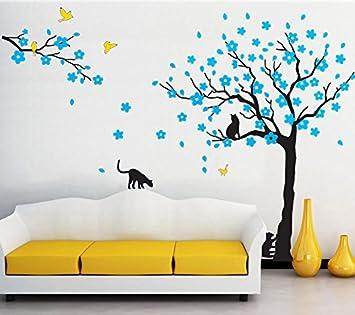Negro árbol de pájaros y gatos pared adhesivos extraíble árbol arte de pared vinilo adhesivo decorativo para pared habitación de los niños salón dormitorio ...