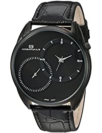 Men's Sentinel Stainless Steel Quartz Watch with Leather Strap, Black, 20 (Model: OC3350)