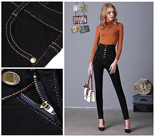 Pantalones Color Denim Butt Solid Women's alta Negro cintura Pencil con Slim Comfy Skinny Pantalones Elwow Lifting de elástico Jeans 0RA6n8gn7