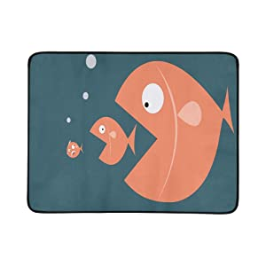 YSWPNA Big Fish Eat Small Fish Portable and Foldable Blanket Mat 60x78 Inch Handy Mat for Camping Picnic Beach Indoor Outdoor Travel