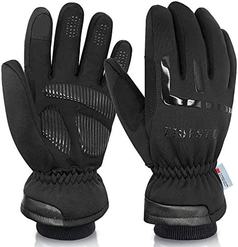 FIDESTE -40℉ Waterproof Winter Thermal Gloves - 3M Thinsulate Windproof Touch Screen Warm Gloves - for Driving Motorcycle,Cycling,Running,Outdoor Sports - for Women and Men - Black