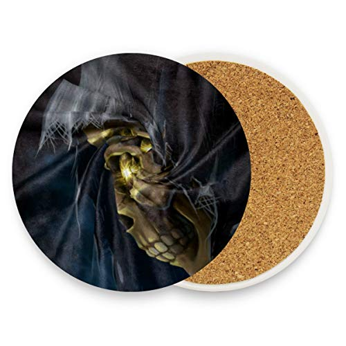 Coasters for Drinks,Halloween Skull Ceramic Round Cork Trivet Heat Resistant Hot Pads Table Cup Mat Coaster-Set of 4 Pieces -