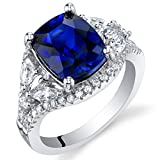 Sterling Silver Cushion Legacy Ring Sizes 5 to 9 in Various Gemstones