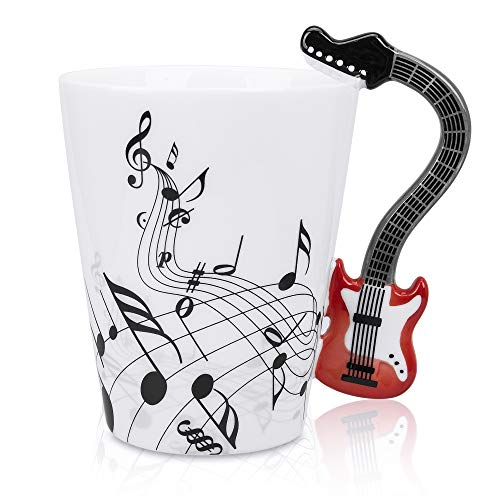 LanHong - 13.5 oz Musical Notes Design Guitar Coffee Mugs Drink Tea Milk Coffee Mug Ceramic Music Cup Gift for Friend (Red)