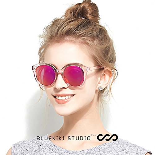 34682ea16d2 BLUEKIKI YEUX Women Polarized Sunglasses Vintage Oversized Round Mirror(Barbie  pink