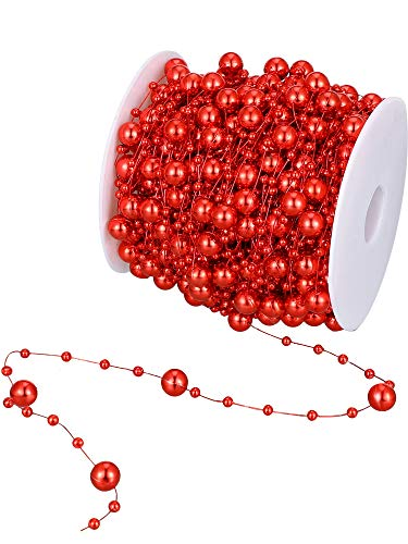 100 Feet Pearl Strands Bead Garland Pearl Beaded Trim Decorative Pearls on String Christmas Tree Decorations DomeStar Red Pearl Garland