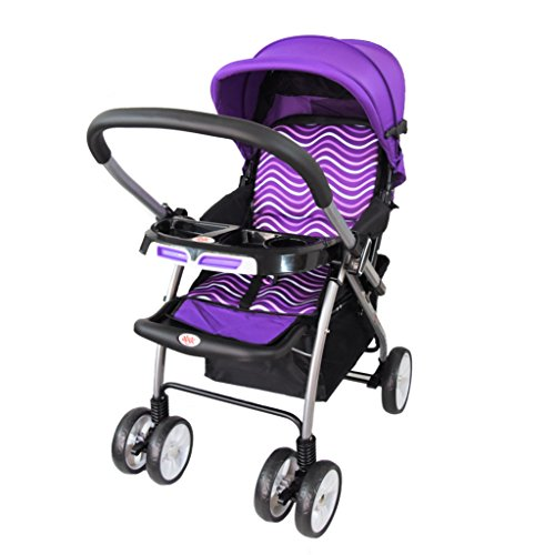 Abdc Kids Reversible Handlebar Baby Pram Wave with Extra Wide Seat, Purple