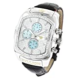 Large Bubble Watches: LUXURMAN Bullion Diamond Watch For Men w Chronograph and Leather