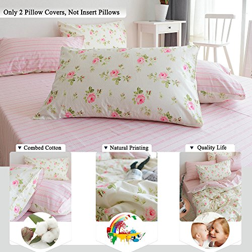 FenDie Rose Flower Pattern Twin/Full/Queen Size Pillow Cases of 2 Set Girls Standard Cotton Pillow Covers Decorative, Envelope Closure End, White Pink (Standard Pillowcase Pattern)
