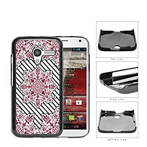Red Victoria Damask With Black Stripes Hard Plastic Snap On Cell Phone Case Motorola Moto X