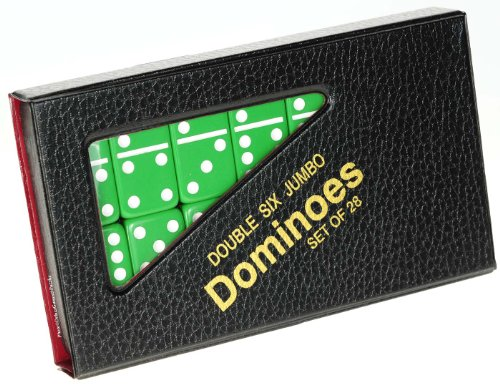 Dominoes Jumbo GREEN with White Pips _ Double Six Set of 28