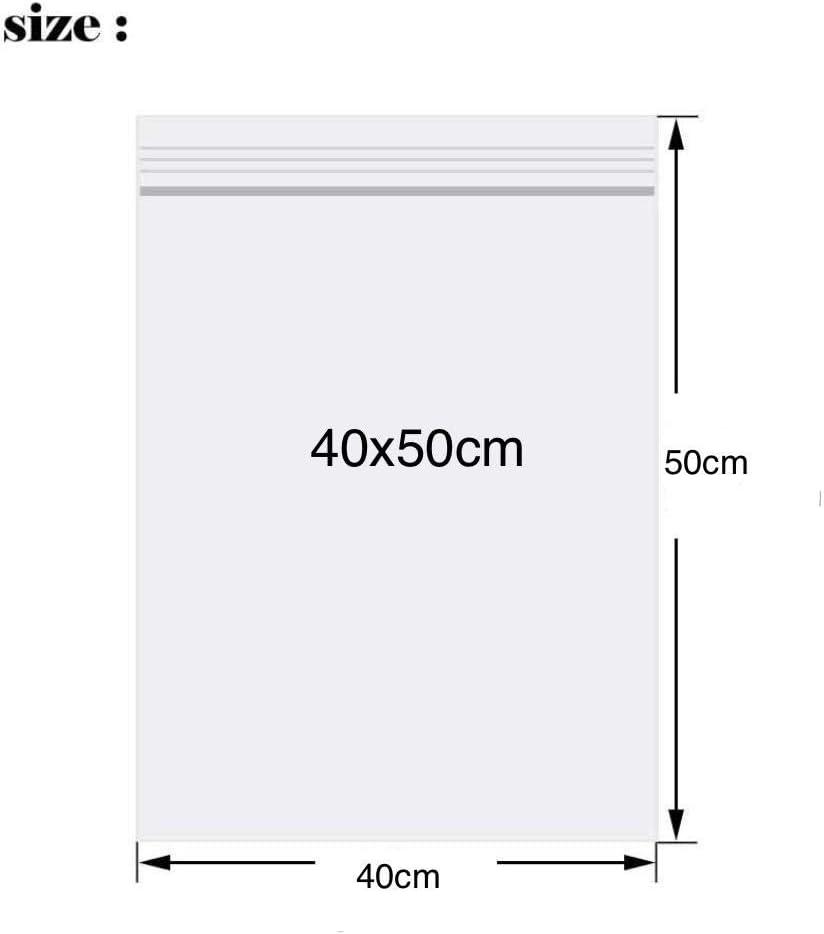 50Pcs Sacchetti di plastica trasparenti 35X45cm con chiusura a zip resistenti richiudibili spesse e durevoli richiudibili per chiudere